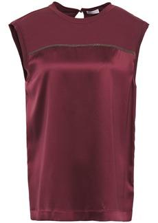 Brunello Cucinelli Woman Bead-embellished Jersey-paneled Silk-blend Satin Top Plum