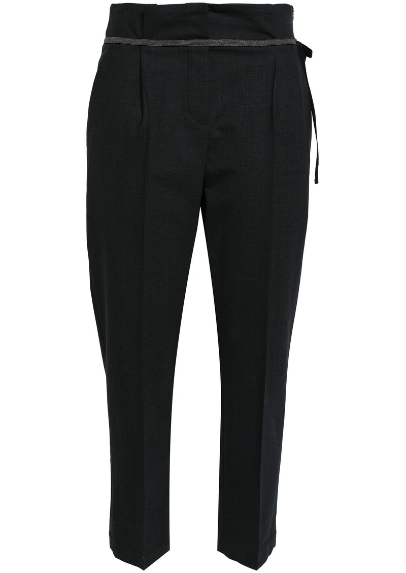 Brunello Cucinelli Woman Bead-embellished Cropped Virgin Wool-blend Tapered Pants Charcoal