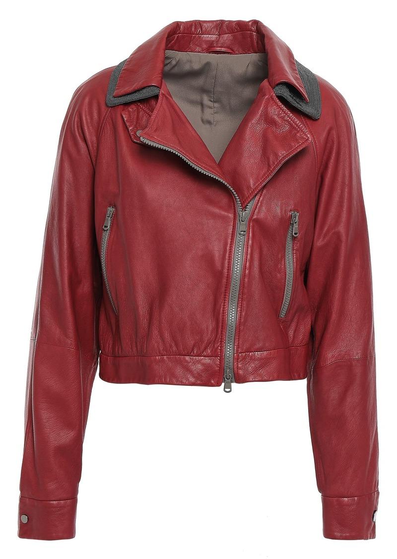 Brunello Cucinelli Woman Cropped Bead-embellished Leather Biker Jacket Claret