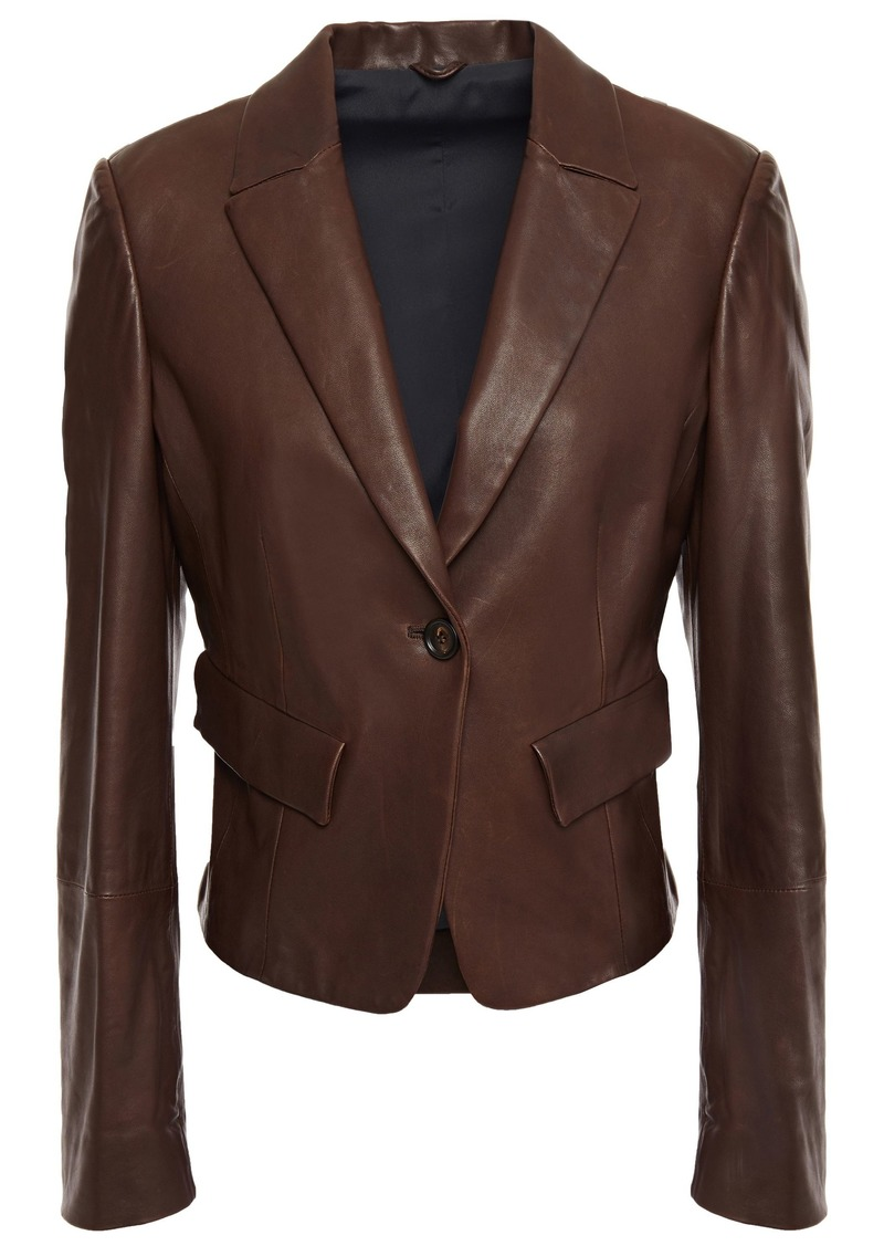 Brunello Cucinelli Woman Bead-embellished Leather Blazer Chocolate
