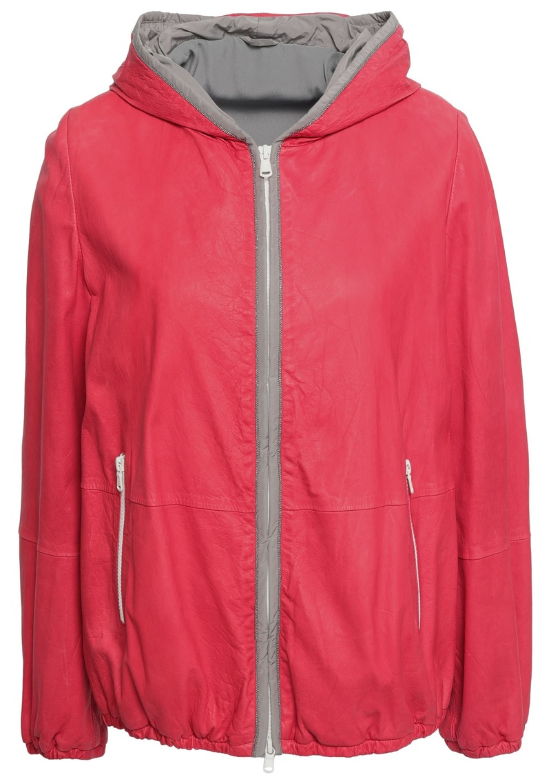 Brunello Cucinelli Woman Bead-embellished Leather Hooded Jacket Red