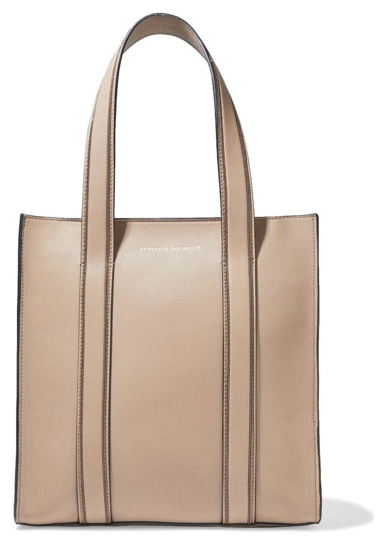 Brunello Cucinelli Woman Bead-embellished Leather Tote Neutral