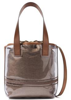 Brunello Cucinelli Woman Bead-embellished Leather-trimmed Pvc Shoulder Bag Neutral