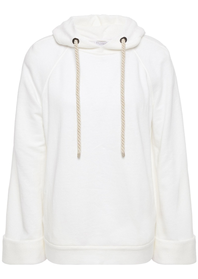 Brunello Cucinelli Woman Bead-embellished Linen And Cotton-blend Fleece Hoodie Ivory