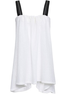 Brunello Cucinelli Woman Bead-embellished Linen And Silk-blend Top White