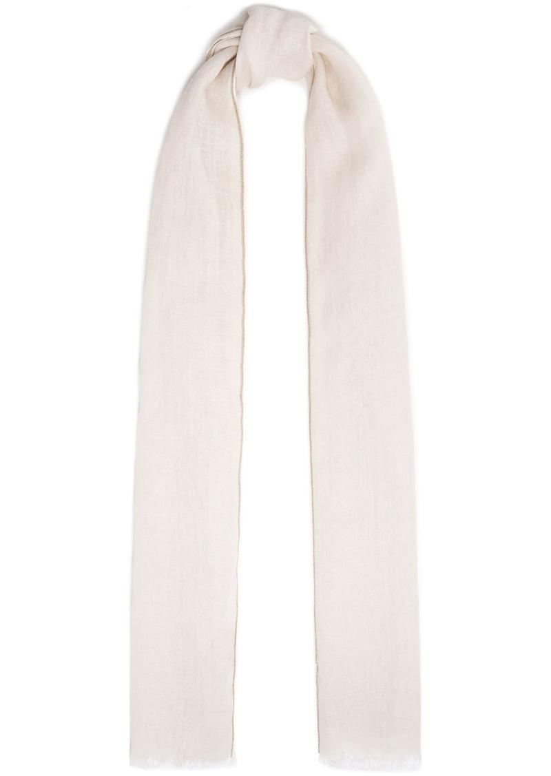 Brunello Cucinelli Woman Bead-embellished Linen-gauze Scarf Cream
