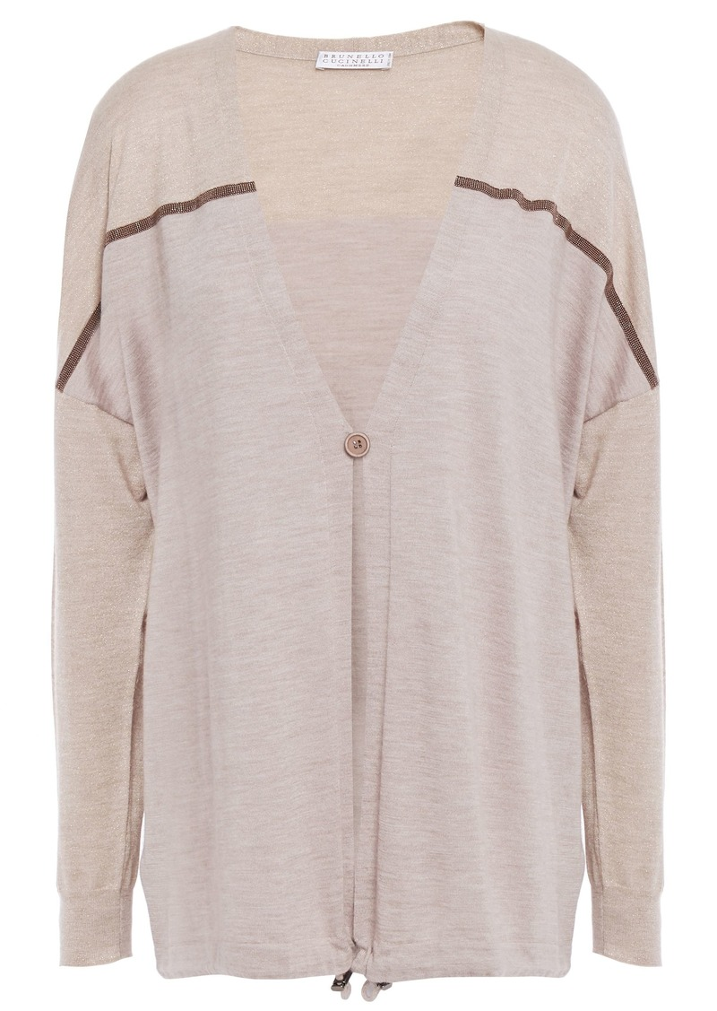 Brunello Cucinelli Woman Bead-embellished Metallic-paneled Cashmere And Silk-blend Cardigan Neutral