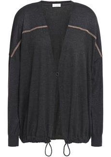 Brunello Cucinelli Woman Bead-embellished Metallic-paneled Cashmere And Silk-blend Cardigan Charcoal