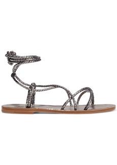 Brunello Cucinelli Woman Bead-embellished Metallic Snake-effect Leather Sandals Gunmetal
