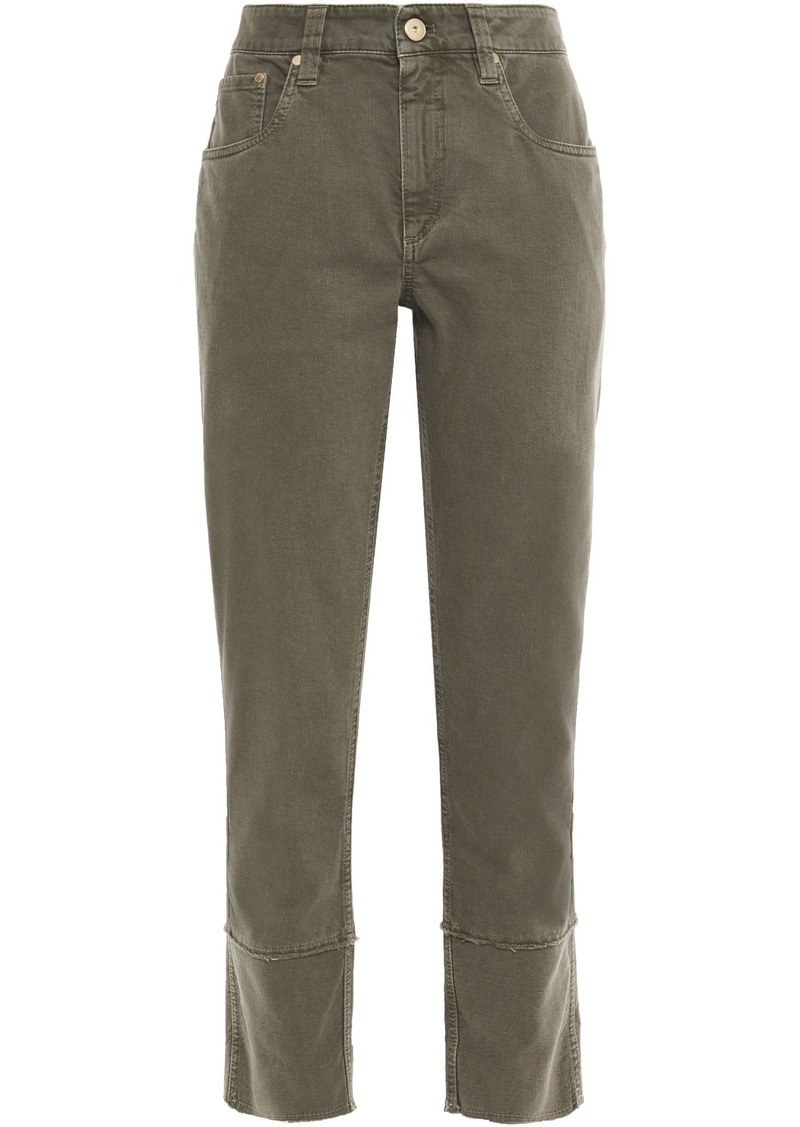 Brunello Cucinelli Woman Bead-embellished Mid-rise Straight-leg Jeans Army Green