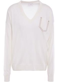Brunello Cucinelli Woman Bead-embellished Cashmere Silk And Hemp-blend Sweater Ecru