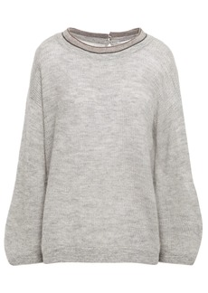 Brunello Cucinelli Woman Bead-embellished Mélange Knitted Sweater Light Gray