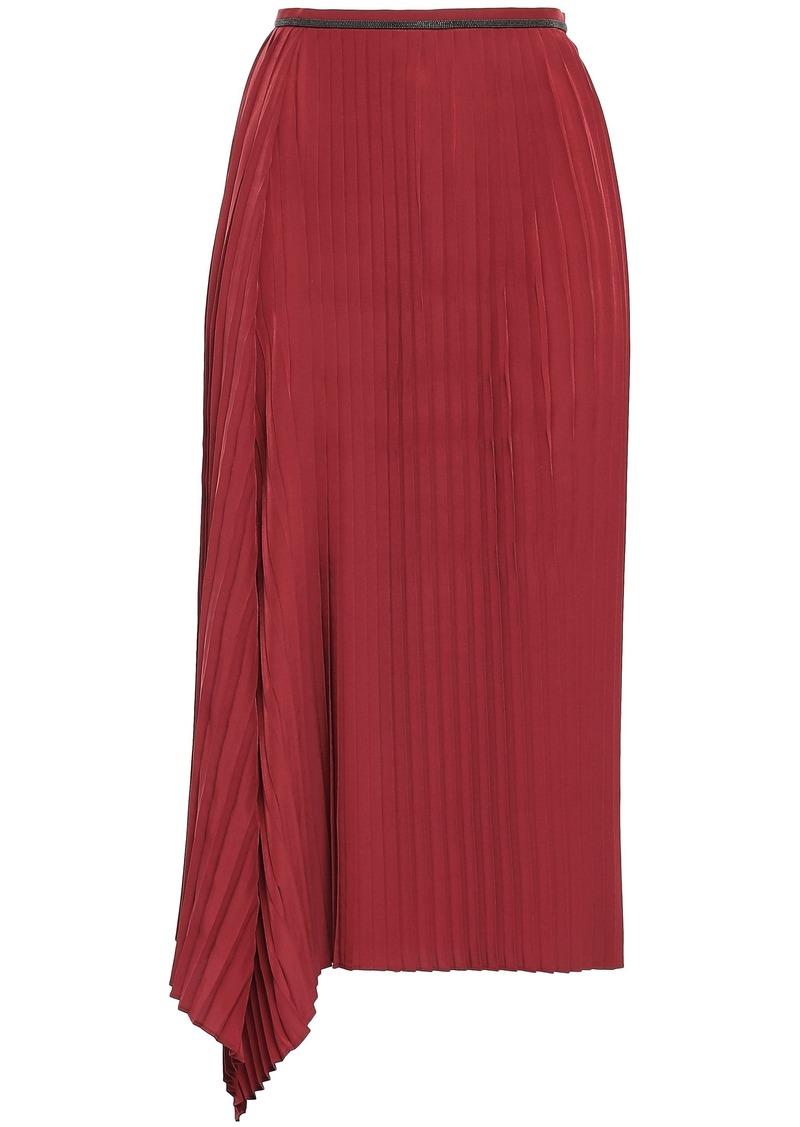 Brunello Cucinelli Woman Bead-embellished Pleated Crepe De Chine Midi Skirt Claret