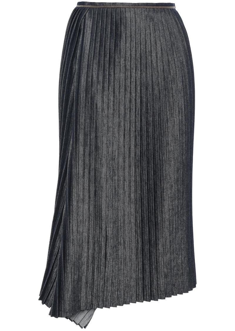 Brunello Cucinelli Woman Bead-embellished Pleated Denim Midi Skirt Mid Denim