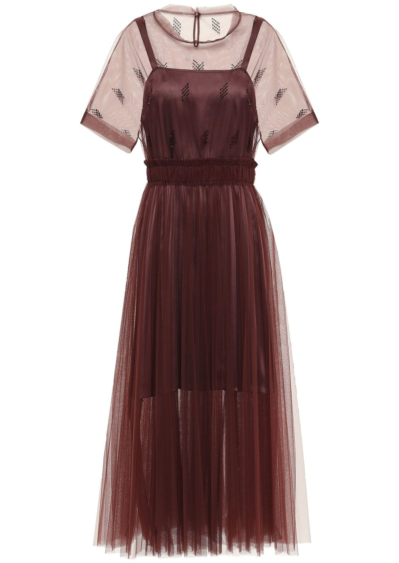 Brunello Cucinelli Woman Bead-embellished Pleated Tulle Midi Dress Burgundy