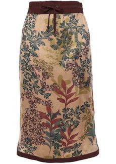 Brunello Cucinelli Woman Bead-embellished Printed Silk-satin Skirt Light Brown