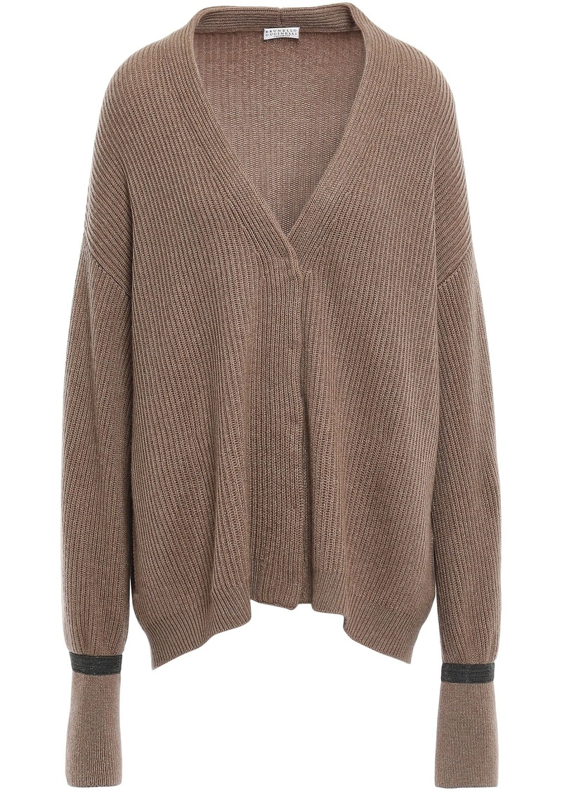 Brunello Cucinelli Woman Bead-embellished Ribbed Cashmere Cardigan Tan