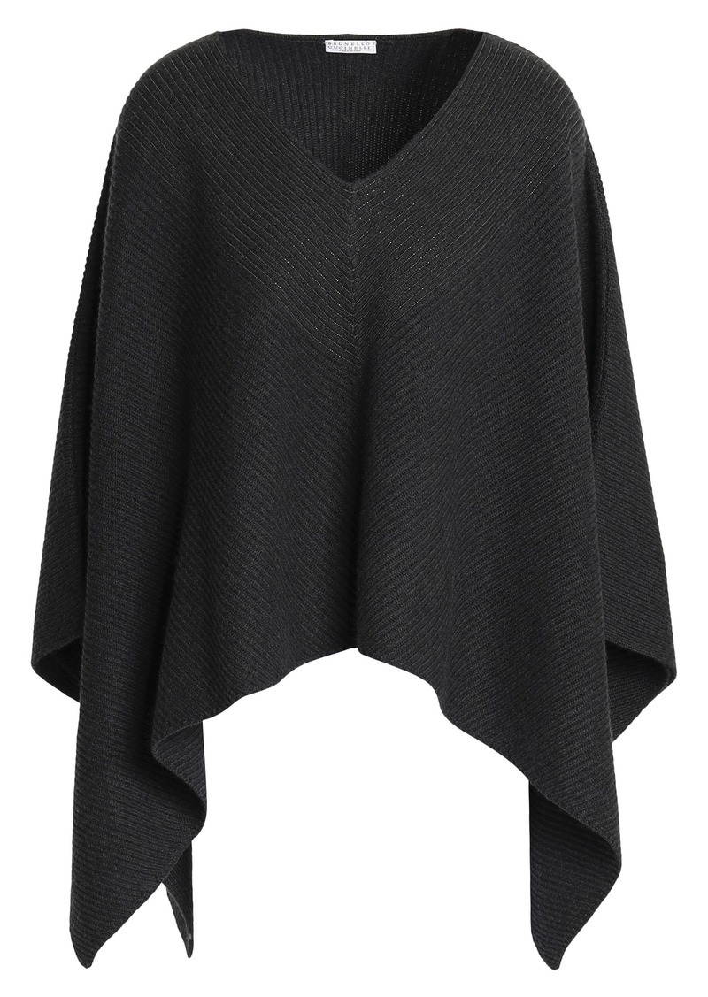 Brunello Cucinelli Woman Bead-embellished Ribbed Cashmere Poncho Charcoal