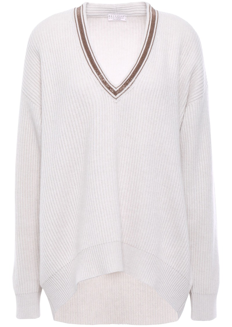Brunello Cucinelli Woman Bead-embellished Ribbed Cashmere Sweater Cream