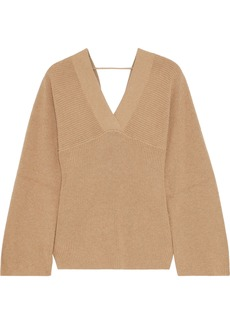 Brunello Cucinelli Woman Bead-embellished Ribbed Cotton Sweater Sand