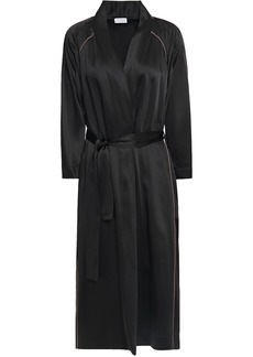 Brunello Cucinelli Woman Bead-embellished Satin Kimono Black