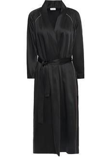Brunello Cucinelli Woman Bead-embellished Satin Kimono Black