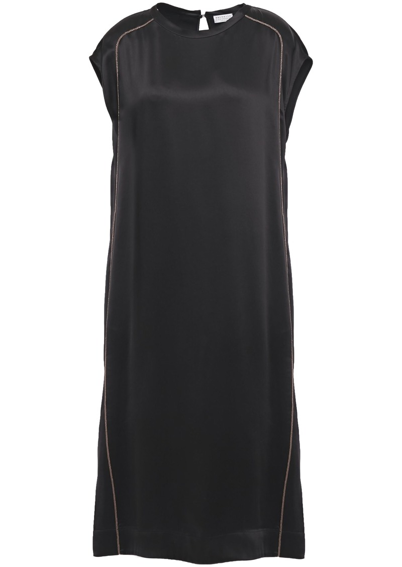 Brunello Cucinelli Woman Bead-embellished Satin Midi Dress Black
