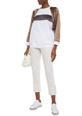 Brunello Cucinelli Woman Bead-embellished Satin-paneled Cotton-jersey Top White