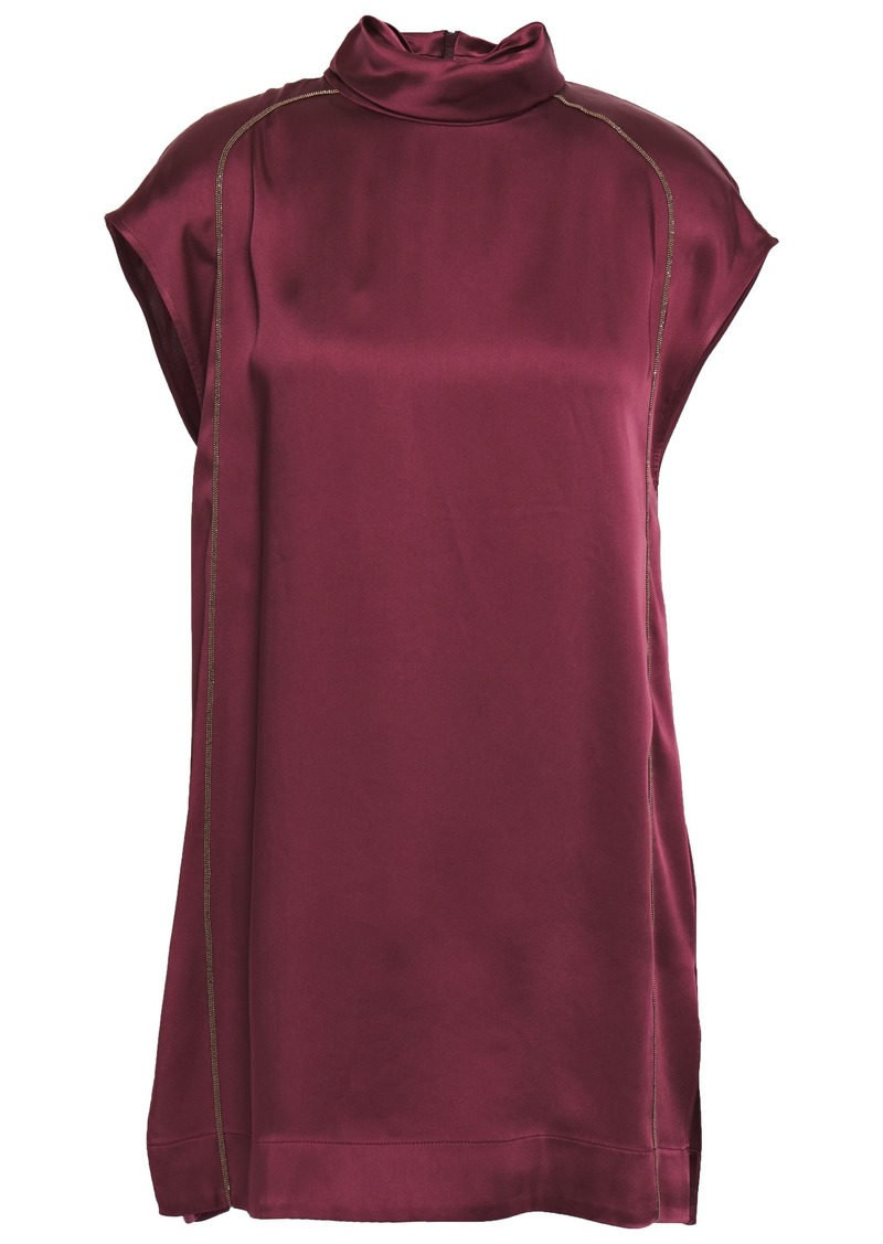 Brunello Cucinelli Woman Bead-embellished Satin Top Plum