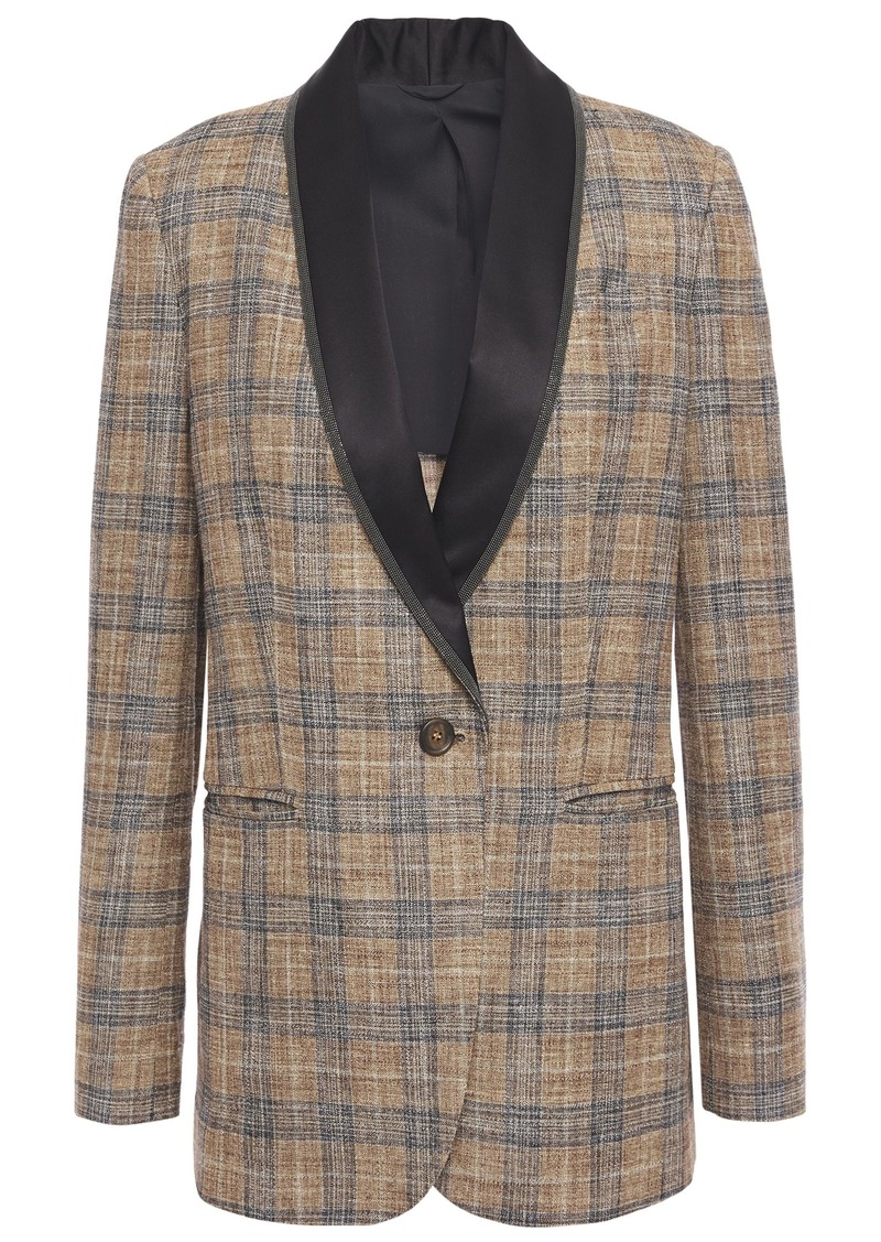Brunello Cucinelli Woman Bead-embellished Satin-trimmed Checked Woven Blazer Light Brown