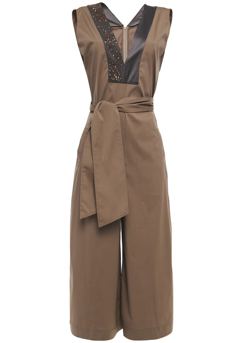 Brunello Cucinelli Woman Bead-embellished Satin-trimmed Cotton-blend Poplin Jumpsuit Taupe