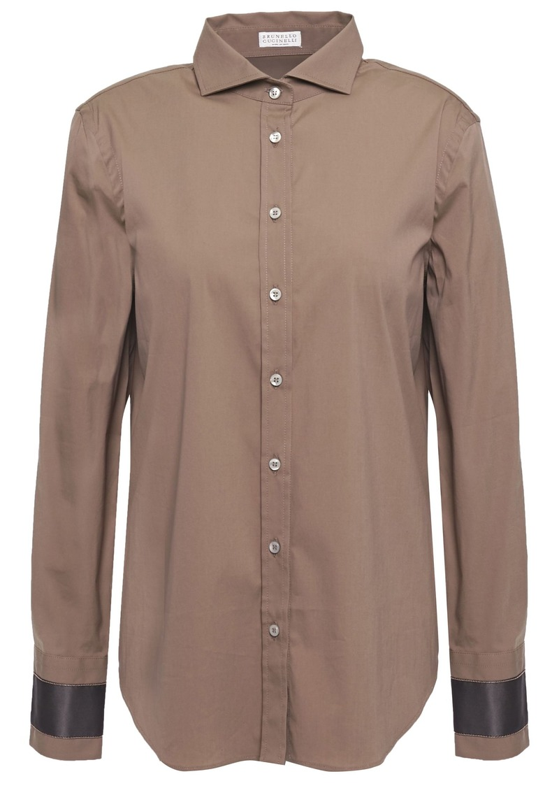 Brunello Cucinelli Woman Bead-embellished Stretch-cotton Poplin Shirt Taupe