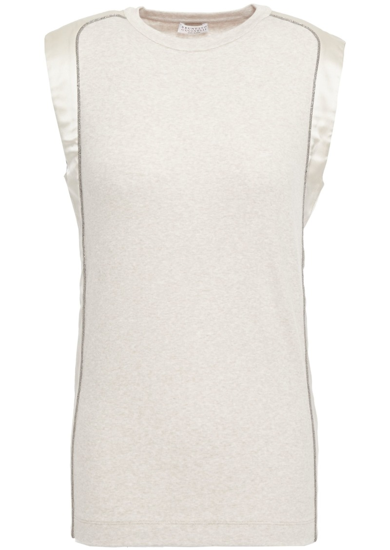 Brunello Cucinelli Woman Bead-embellished Satin-trimmed Ribbed Stretch-cotton Jersey Top Neutral