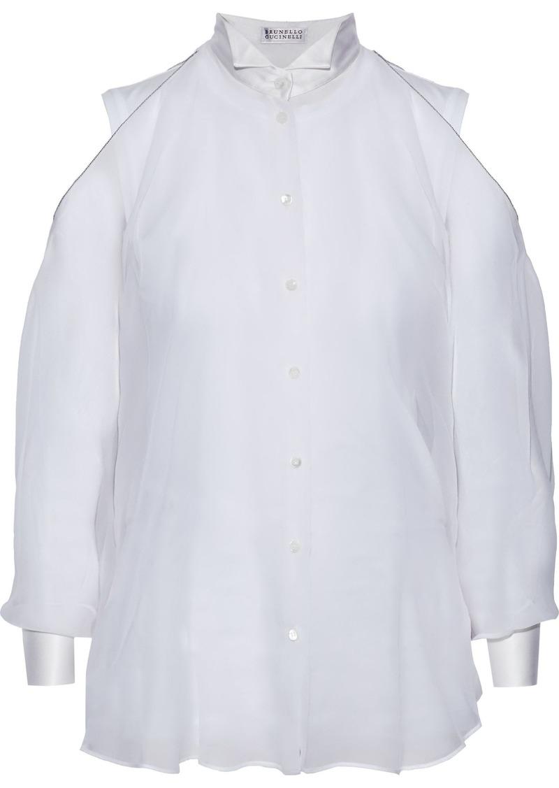 Brunello Cucinelli Woman Bead-embellished Satin-trimmed Silk-organza Shirt White