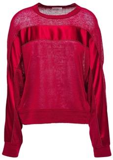 Brunello Cucinelli Woman Bead-embellished Satin-trimmed Slub Linen-blend Jersey Top Claret