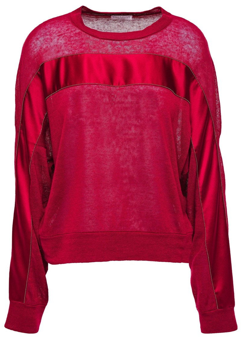 Brunello Cucinelli Woman Bead-embellished Satin-trimmed Slub Linen-blend Jersey Top Claret
