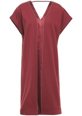 Brunello Cucinelli Woman Bead-embellished Satin-trimmed Stretch-cotton Jersey Dress Brick