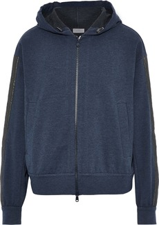 Brunello Cucinelli Woman Embellished Stretch-cotton Jersey Hoodie Navy