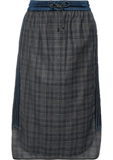 Brunello Cucinelli Woman Bead-embellished Satin-trimmed Checked Wool Skirt Gray