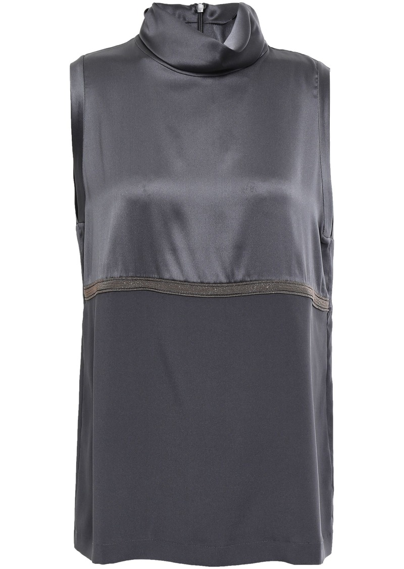 Brunello Cucinelli Woman Bead-embellished Silk-blend Satin And Crepe De Chine Top Dark Gray