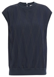 Brunello Cucinelli Woman Bead-embellished Silk-blend Top Navy