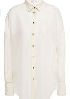 Brunello Cucinelli Woman Bead-embellished Silk-chiffon Shirt Cream