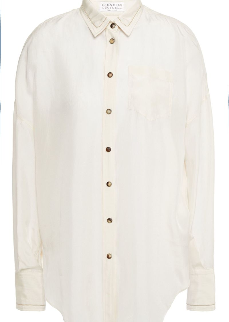 Brunello Cucinelli Woman Bead-embellished Silk-chiffon Shirt Cream