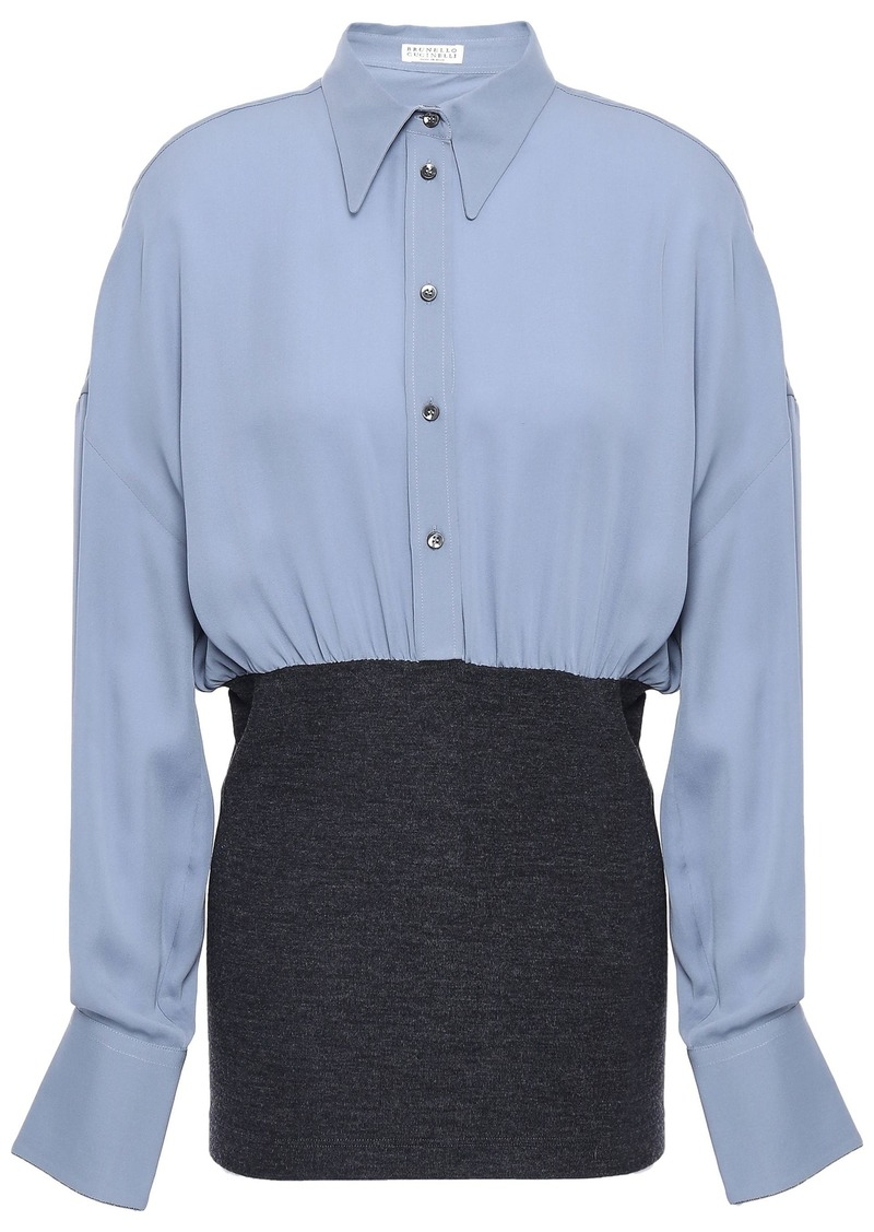 Brunello Cucinelli Woman Bead-embellished Silk-crepe And Stretch-wool Shirt Light Blue
