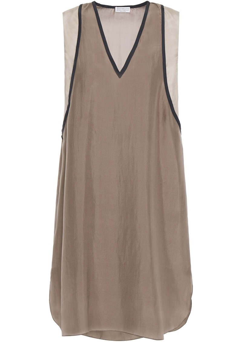 Brunello Cucinelli Woman Bead-embellished Silk Crepe De Chine Mini Dress Taupe