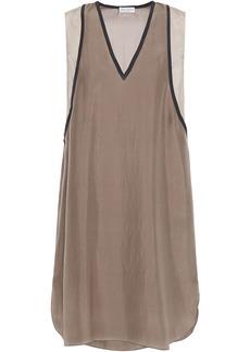 Brunello Cucinelli Woman Bead-embellished Silk Crepe De Chine Mini Dress Taupe