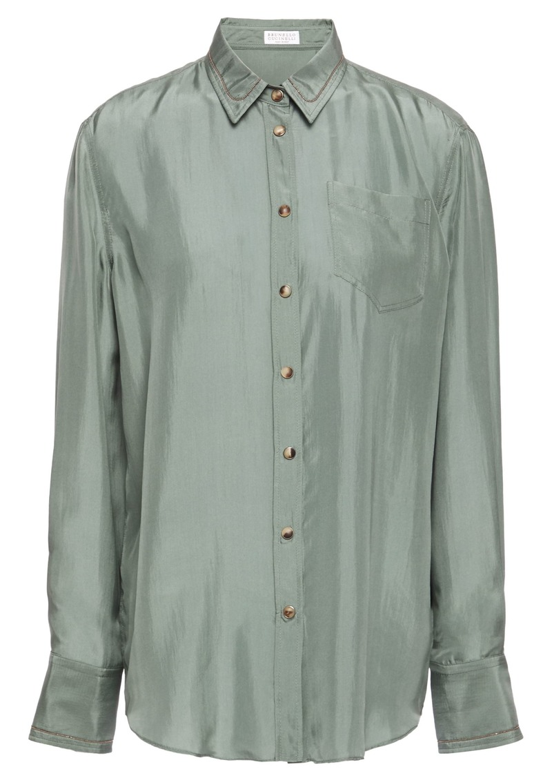 Brunello Cucinelli Woman Bead-embellished Silk-habotai Shirt Grey Green