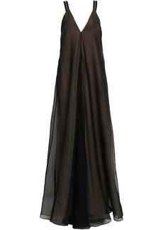 Brunello Cucinelli Woman Bead-embellished Silk-organza Gown Black