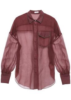Brunello Cucinelli Woman Bead-embellished Silk-organza Shirt Plum