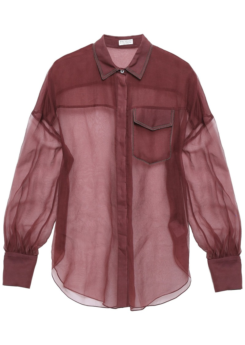Brunello Cucinelli Woman Bead-embellished Silk-organza Shirt Plum